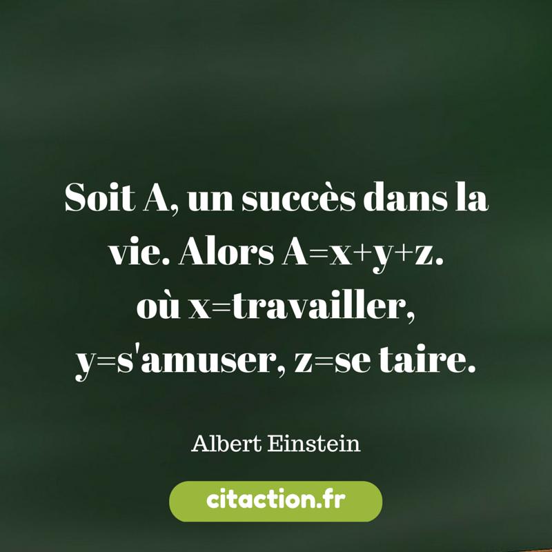 L'équation du succès par Albert Einstein