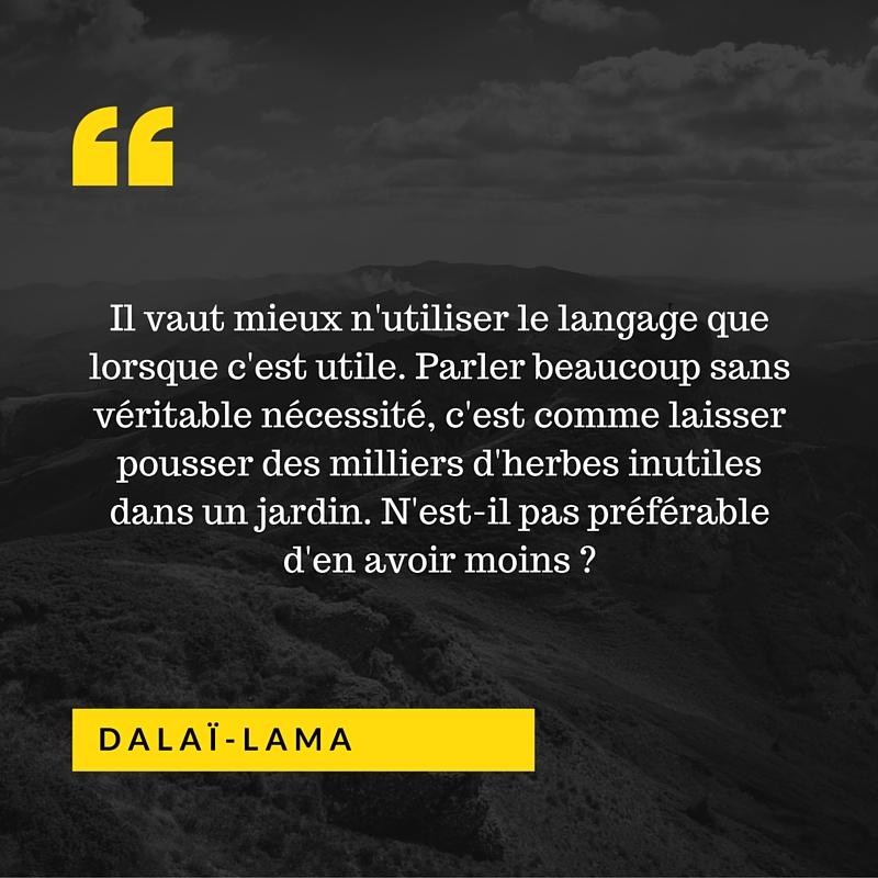 Il vaut mieux n'utiliser le langage que lorsque c'est utile.