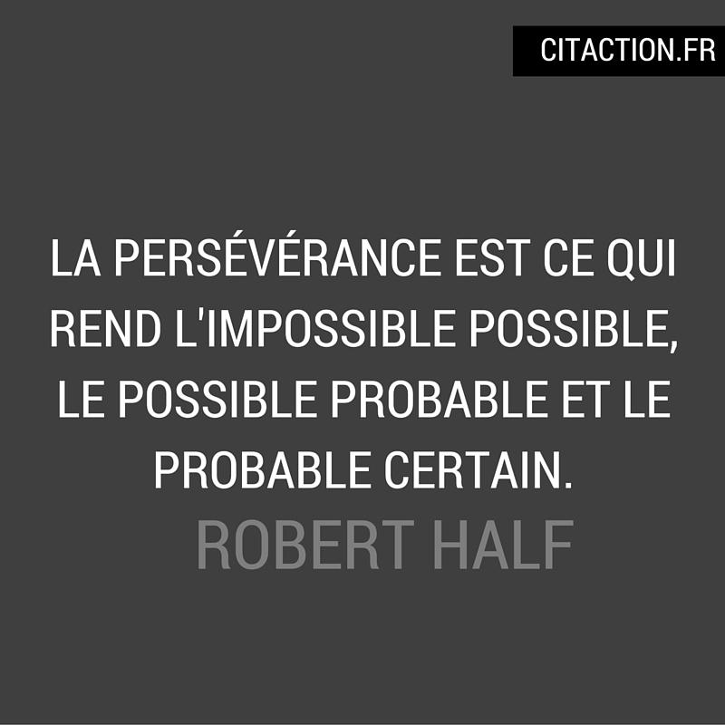 La persévérance est ce qui rend l'impossible possible, le possible probable et le probable certain.