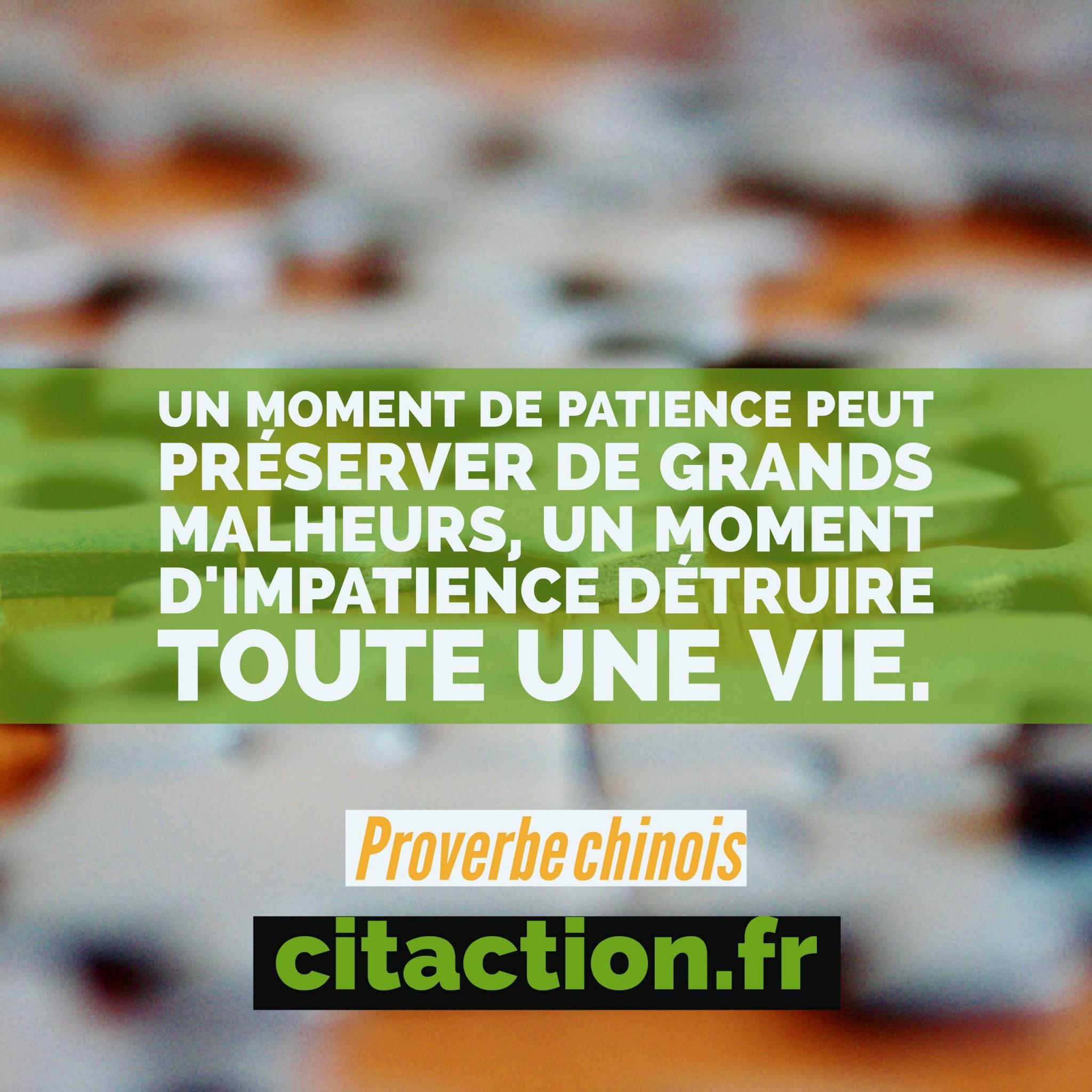 Un moment de patience peut préserver de grands malheurs, un moment d'impatience détruire toute une vie.