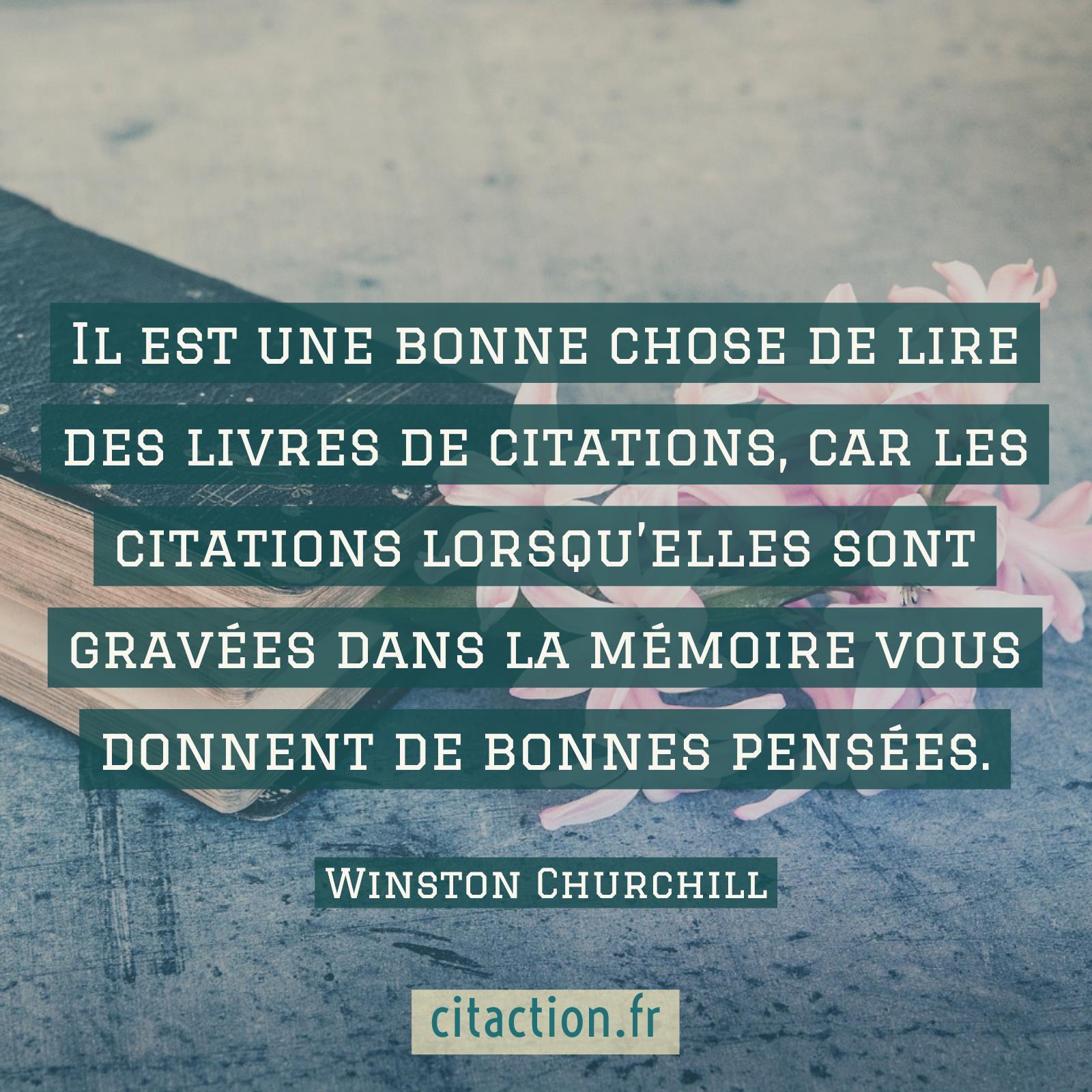 Il est une bonne chose de lire des livres de citations, car les citations lorsqu'elles sont gravées dans la mémoire vous donnent de bonnes pensées.