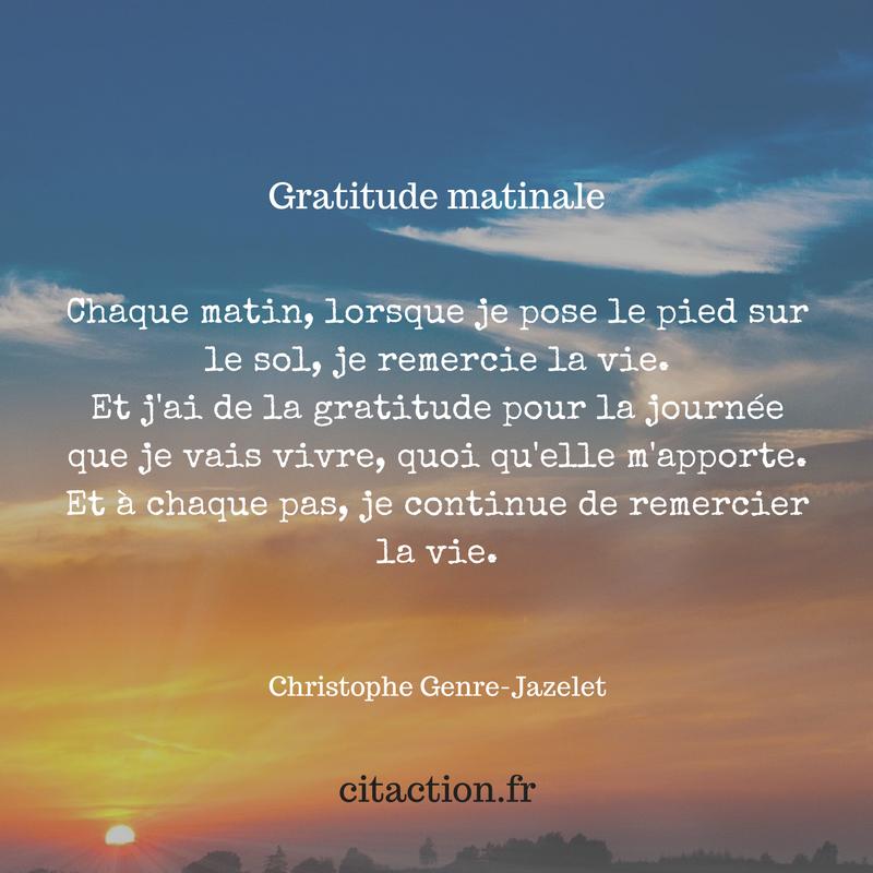 Gratitude du matin