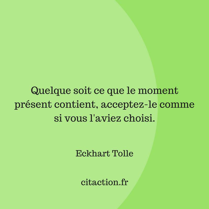 Quelque soit ce que le moment présent contient, acceptez-le comme si vous l'aviez choisi.
