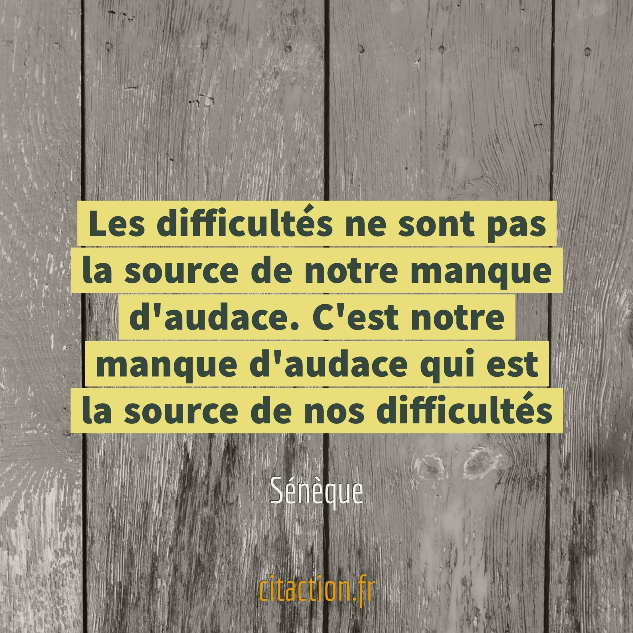Les difficultés ne sont pas la source de notre manque d'audace. C'est notre manque d'audace qui est la source de nos difficultés