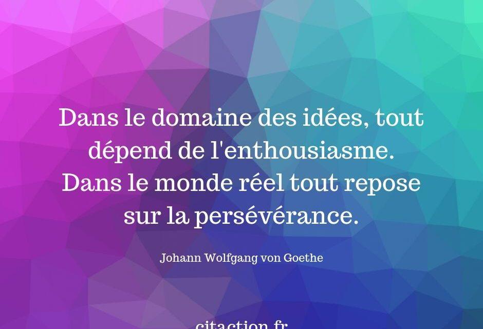 Dans le domaine des idées, tout dépend de l'enthousiasme.